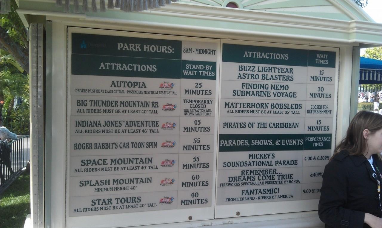 Current #Disneyland waittimes