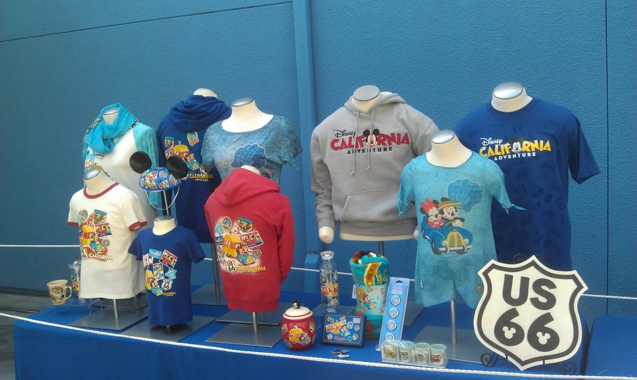 Some of the Cars Land merchandise outside on display.