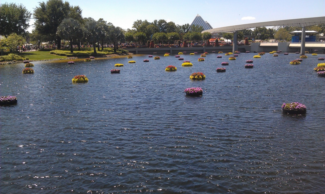 A decent picture of the flower beds.  Where is a monorail when you need it.