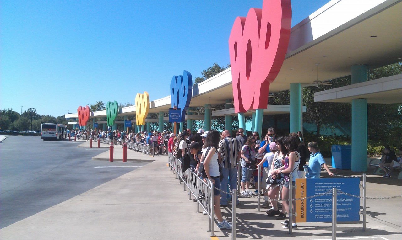A familiar sight to those who have stayed at Pop Century.. a fairly full set of bus stops.