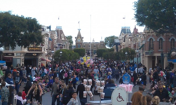A look down a fairly crowded Main Street USA