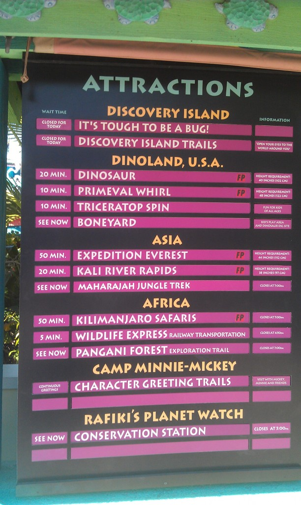 Current AK wait times.  Noticed the trails near the tree and Tough to Be a Bug are still closed.