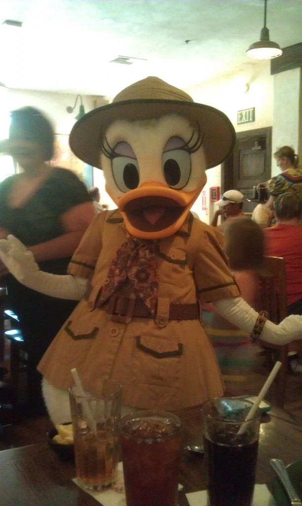 Eating lunch at the Tusker House with the characters.  Daisy stopped by our table.