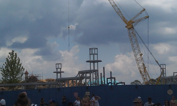 Fantasyland is moving along.  Here you can see the new wall taking shape and the Mine Coaster supports.