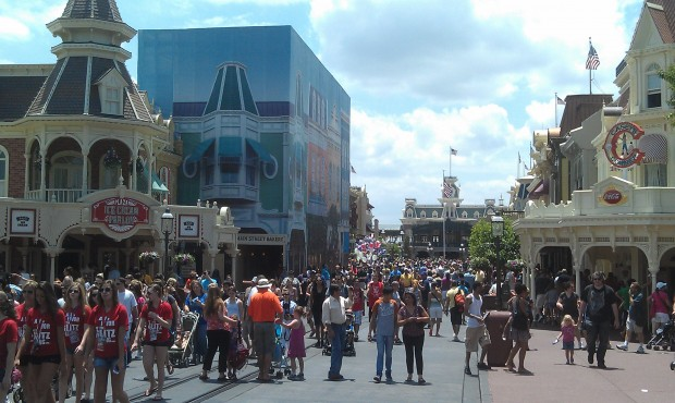 Main Street is fairly crowded this afternoon.