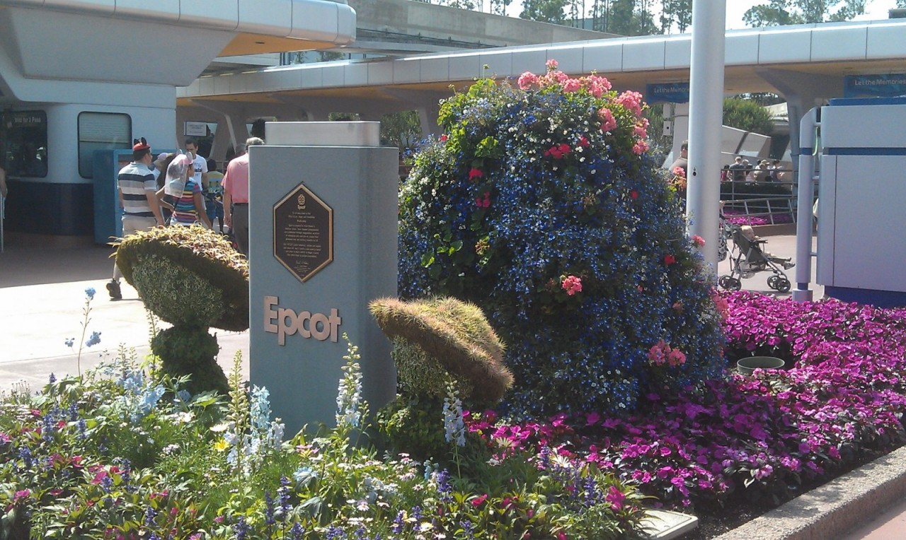 Noticed some flowers and topiaries out by the EPCOT sign this year.  Will be visiting later.
