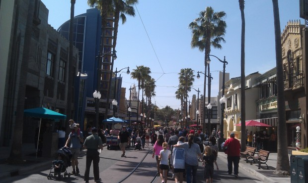 Overhead cables for the Red Car are installed along Hollywood Blvd and Buena Vista Street.