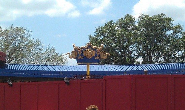 Part of the second Dumbo center piece is installed.