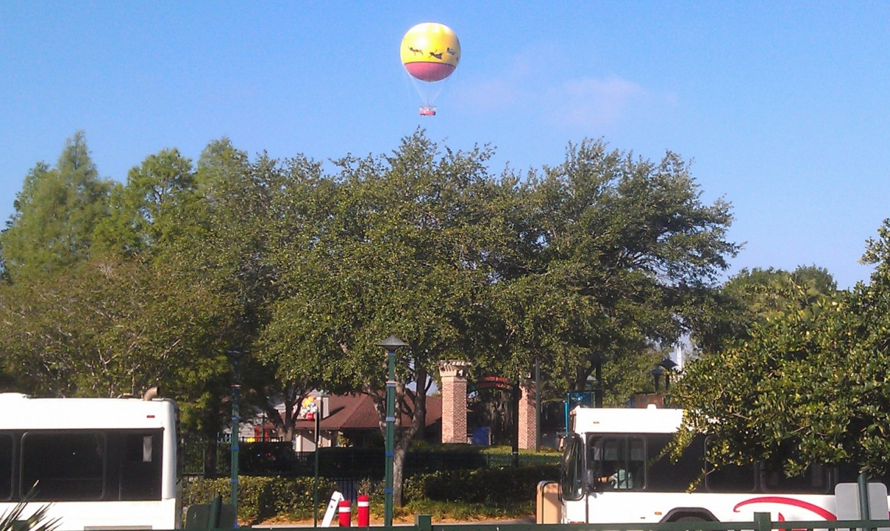 Passing through Downtown Disney this morning noticed the balloon was up early.