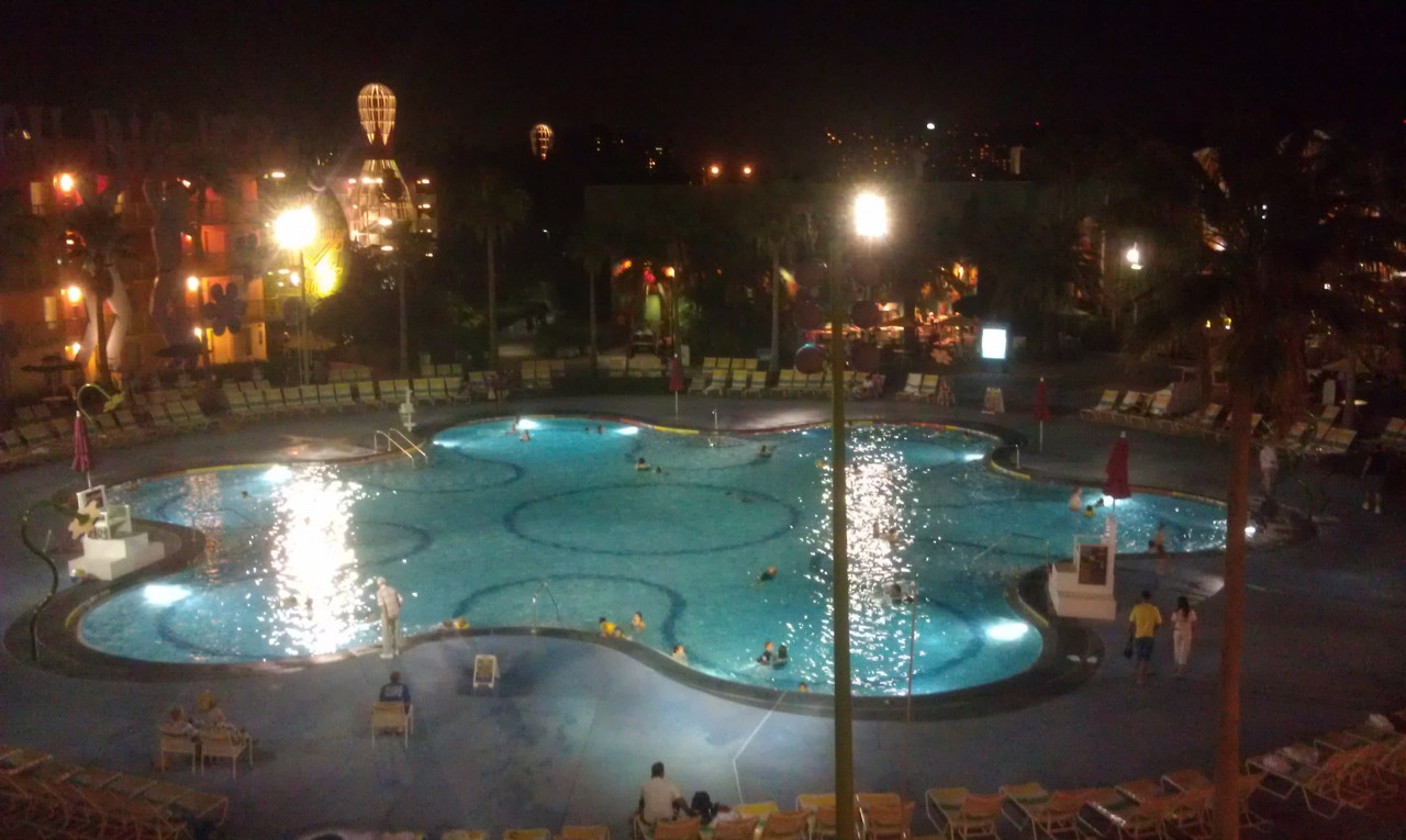 Thanks to the warm evening the pool is alive with activity at Pop Century