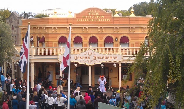The Laughing Stock Co in front of the Golden Horseshoe