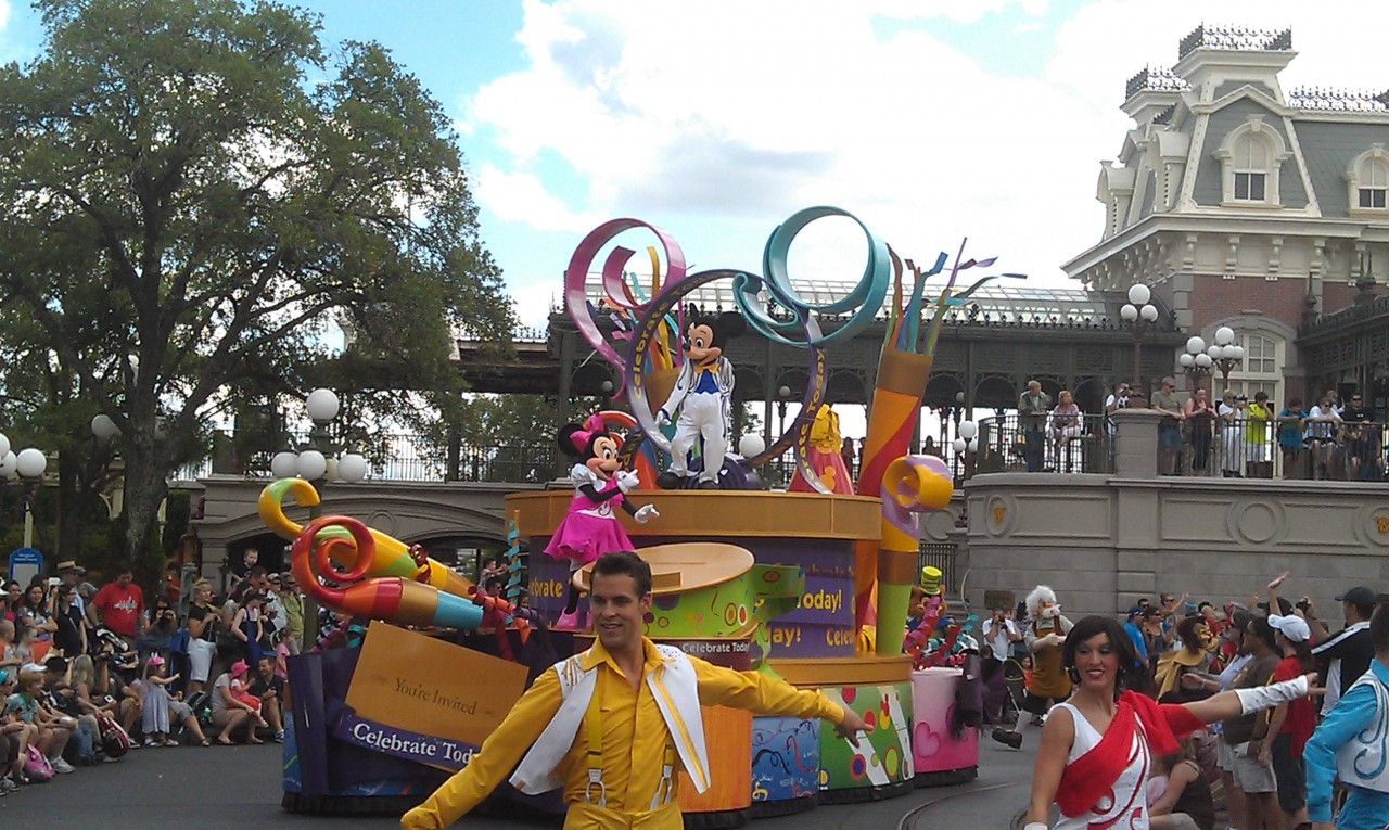 The Magic Kingdom parade moving through Town Square.