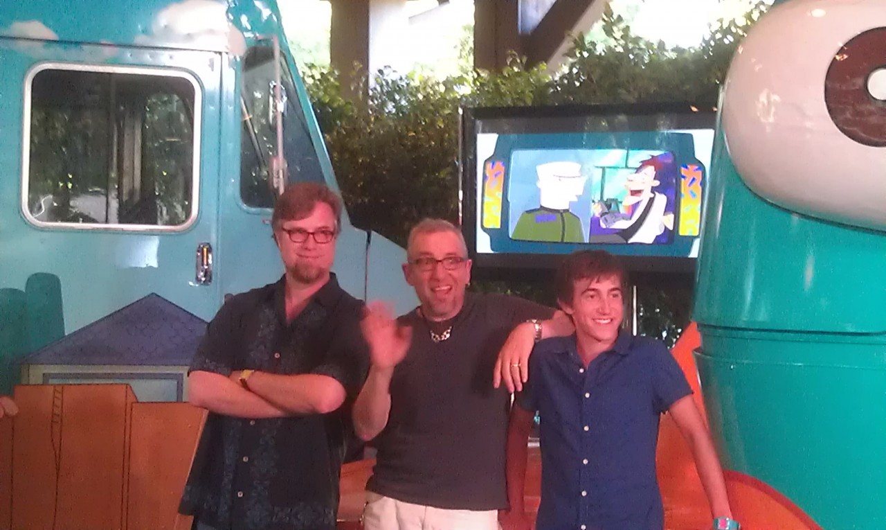 "The Phineas and Ferb creative team co-creators Dan Povenmire and Jeff ""Swampy"" Marsh as well as Vincent Martella (voice of Phineas)"
