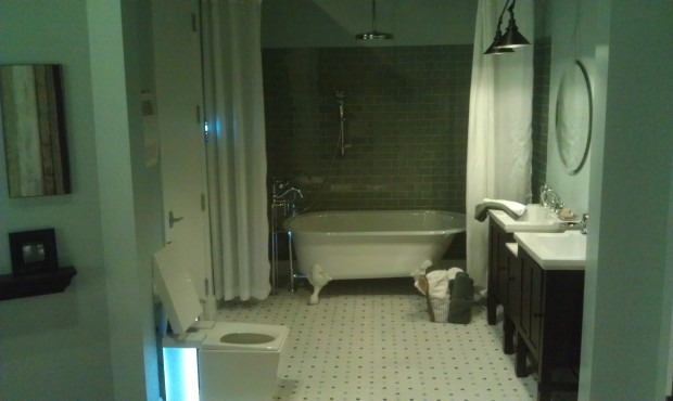 The master bathroom in the vision house.
