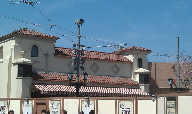 The tile roof and a canopy are now installed at what will be the cafe on Buena Vista Street.