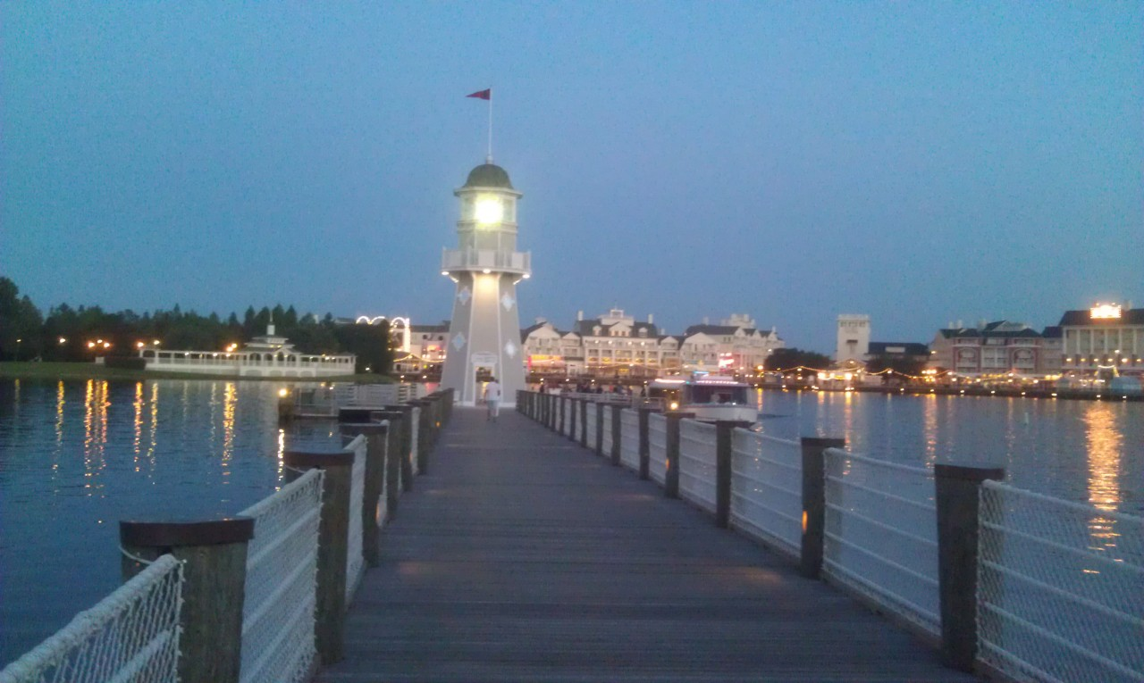 Walking out to the Yacht Club Boat dock to head for EPCOT.