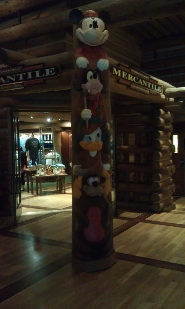 Walking through the Wilderness Lodge lobby.