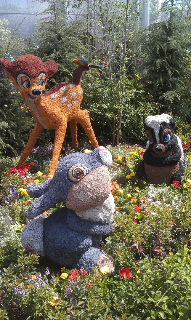 Walking through the butterfly garden.  Bambi and his friends.