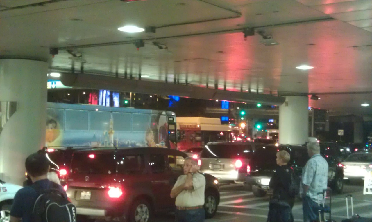 Welcome back to Los Angeles.. grid lock at LAX… but did spot a Disneyland bus.