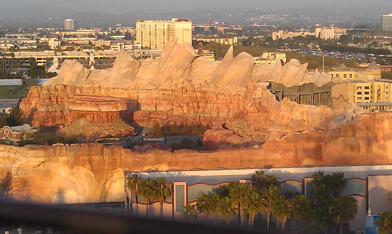 A check in on Cars Land from the Fun Wheel as the sun is setting this evening.