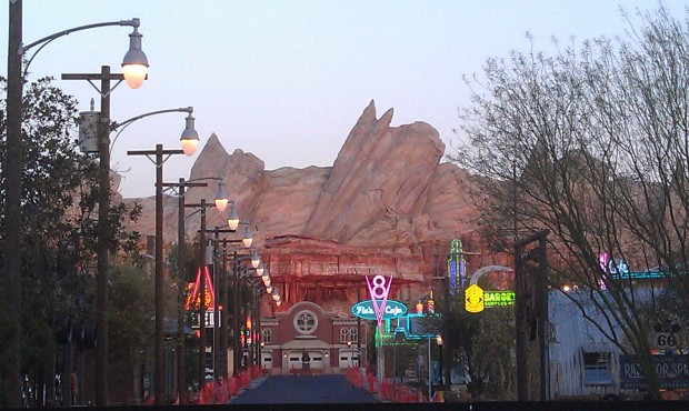 A great view this evening down Route 66 in Cars Land as the sun is setting and neon is on.
