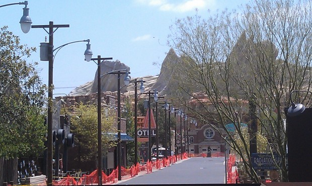 A look down Route 66 @ Cars Land with just over a month till opening.