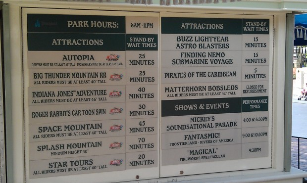 #Disneyland wait times as I head for DCA.