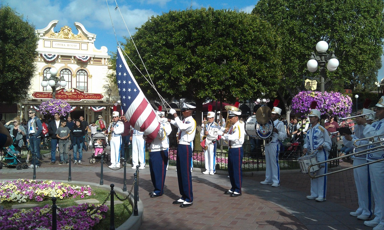 Flag Retreat in Town Square