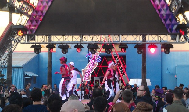 Over on the stage by the House of Cards - dancers