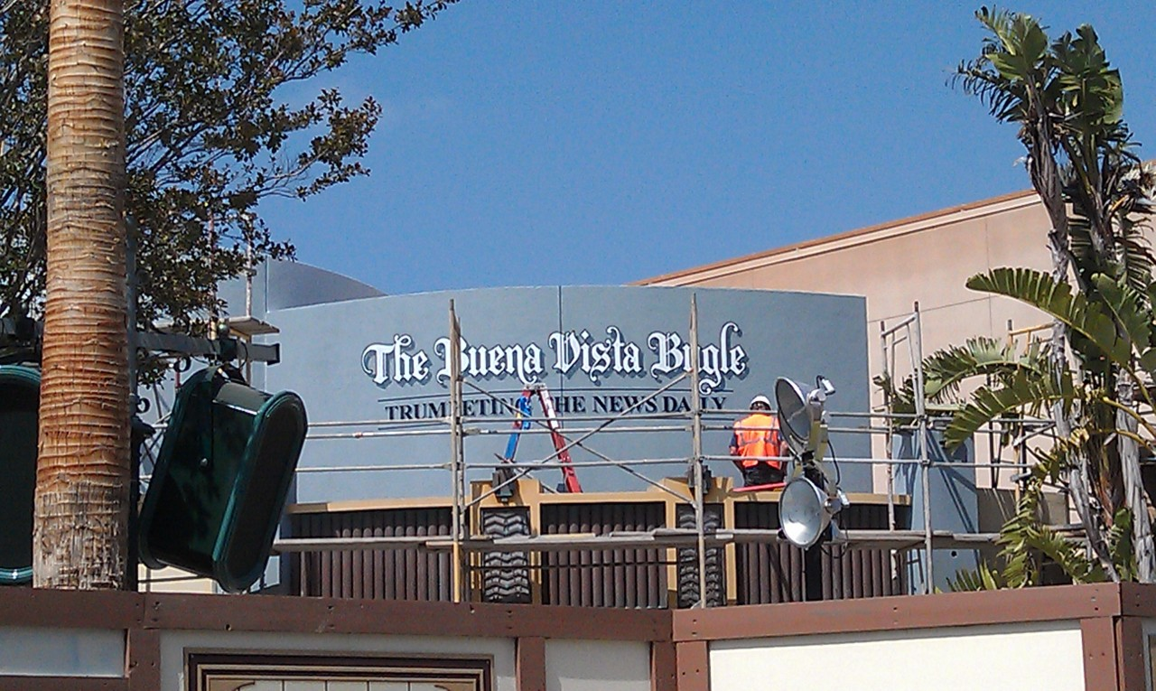 Painting the sign for the Buena Vista Bugle…