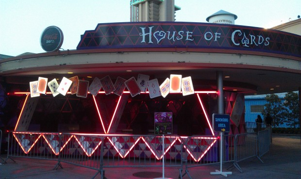 Some of the House of Cards lights are on this evening.