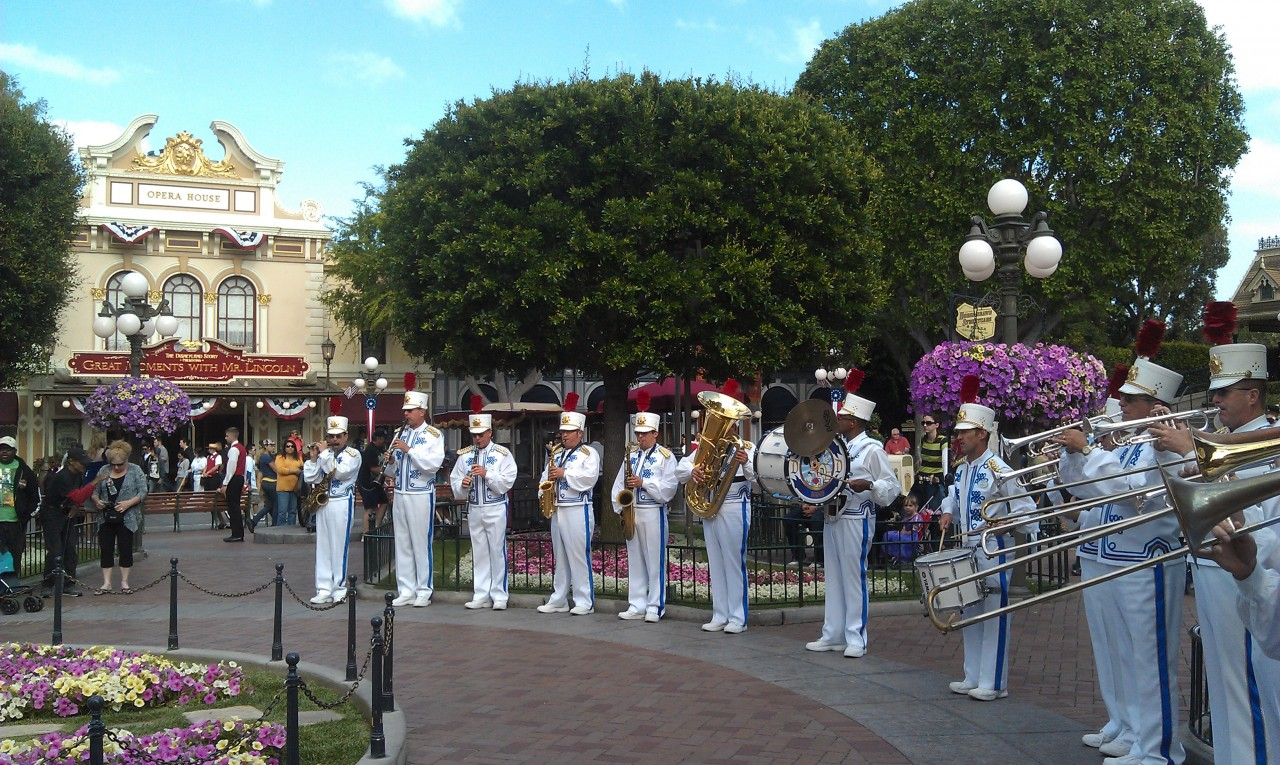 The Disneyland band has arrived to start the nightly flag retreat.