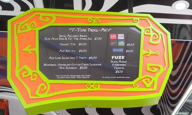The Drink Me menu at the Mad T Party