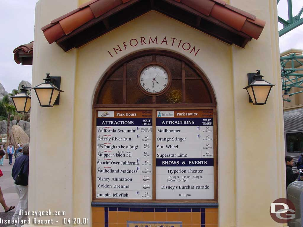 DCA Wait Time Boards Over the Years