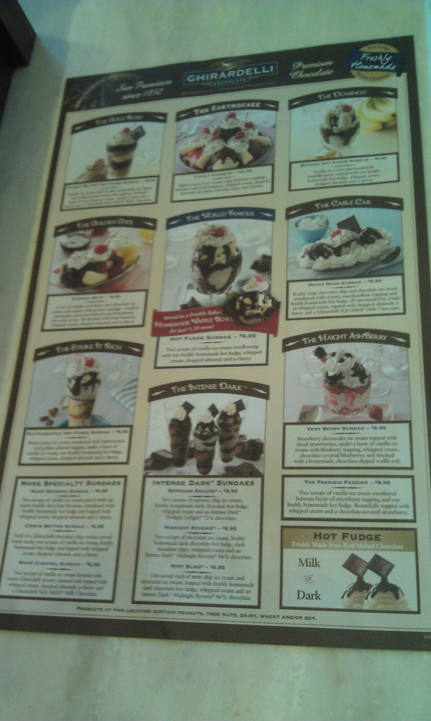 A look at the Ghirardelli menu