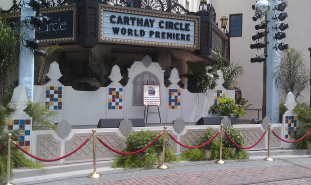 A stage set up in ftont of the Carthay.
