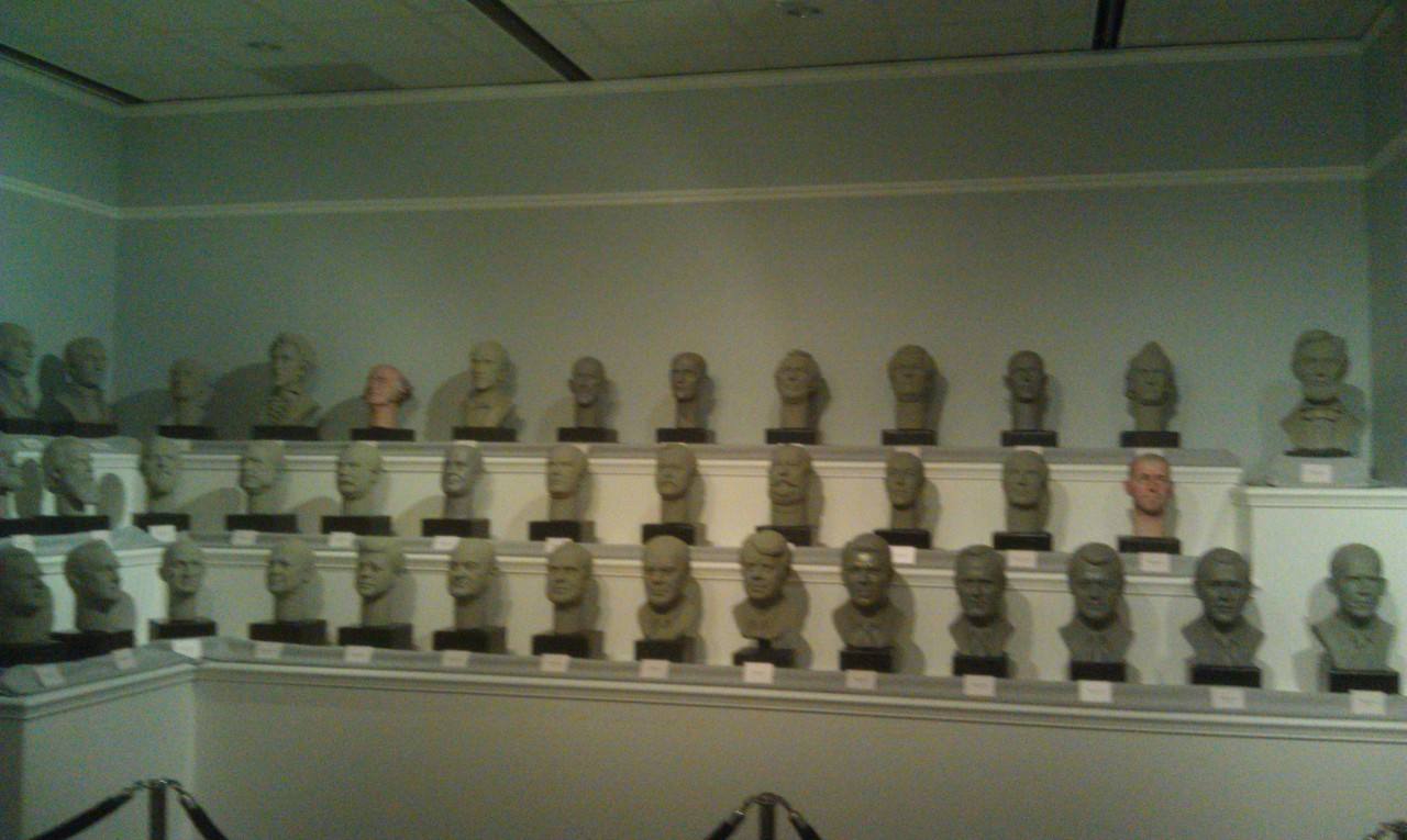 Busts of all the presidents in the Hall of Presidents