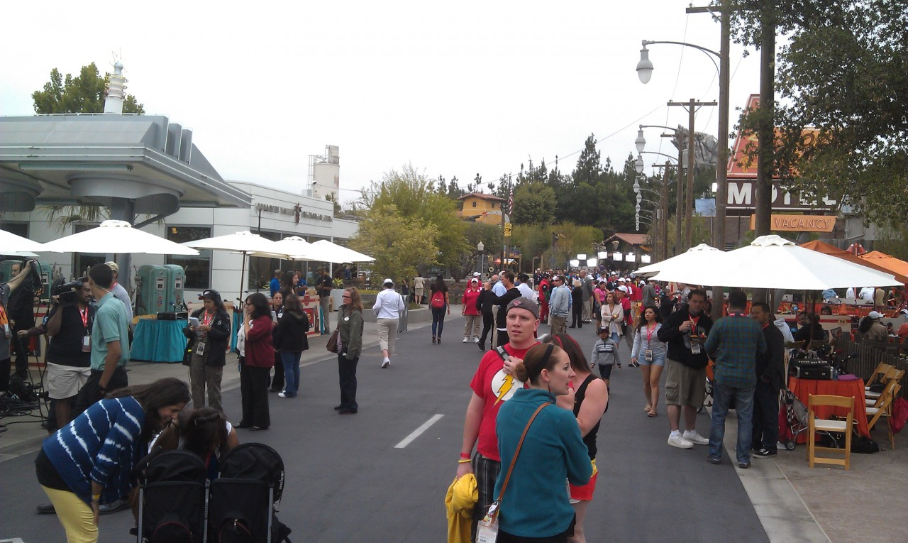 #CarsLand is alive with activity.  Radio, TV, and other media everywhere.