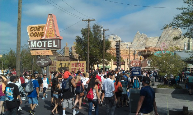 #CarsLand is busy this afternoon but you can still move around.  Ready for the evening wave...