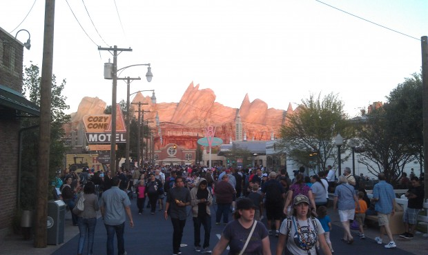 #CarsLand is busy this evening but you can still move around fairly well.