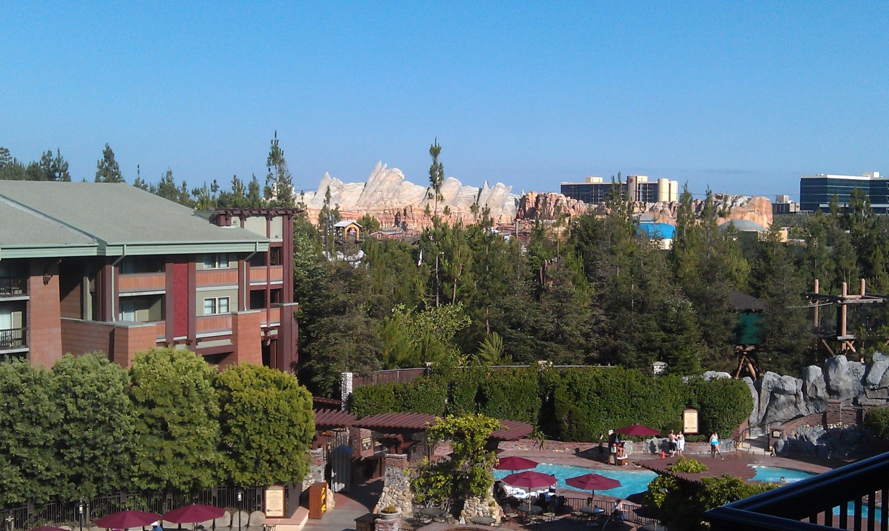 #CarsLand makes for a great back drop from this terrace that overlooks the Grand Califirnian pools.