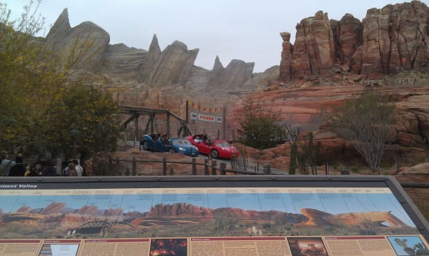 Hanging out in Radiator Springs as the first guests are cycling through the Racers