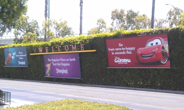 New banners at the Mickey & Friends tram stop for the summer.