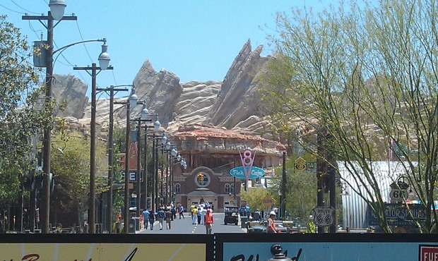 Route 66 in #CarsLand is alive with activity as final details are finished and some testing/tours are underway.