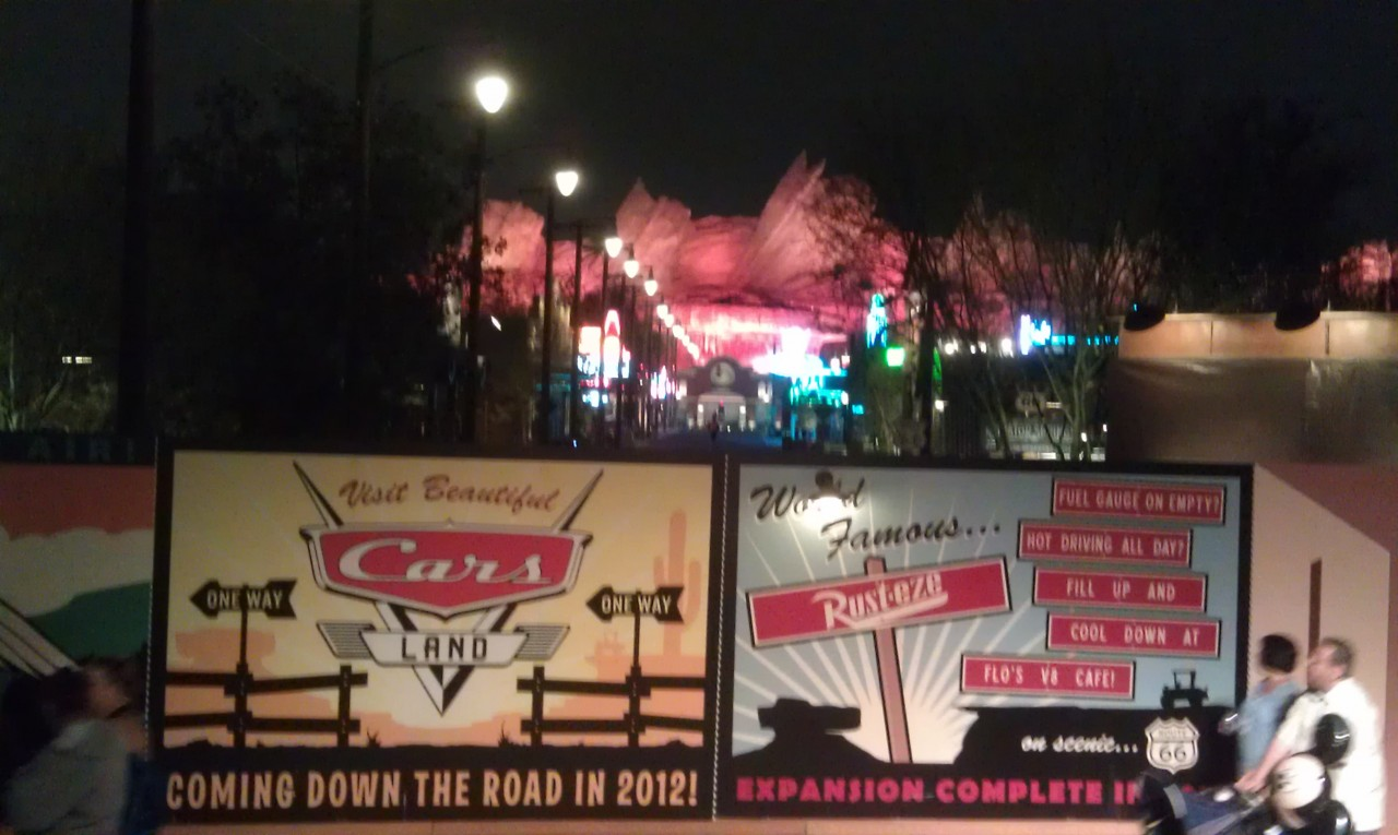 Route 66 in #CarsLand is fairly quite this evening.  Mater and Lightning are roaming around on a photoshoot.