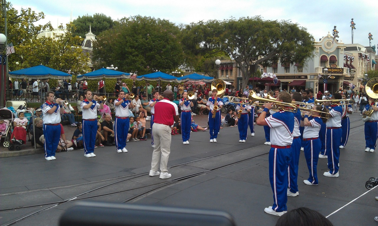 The All American College Band just wrapped up their third and finale pre parade stop.