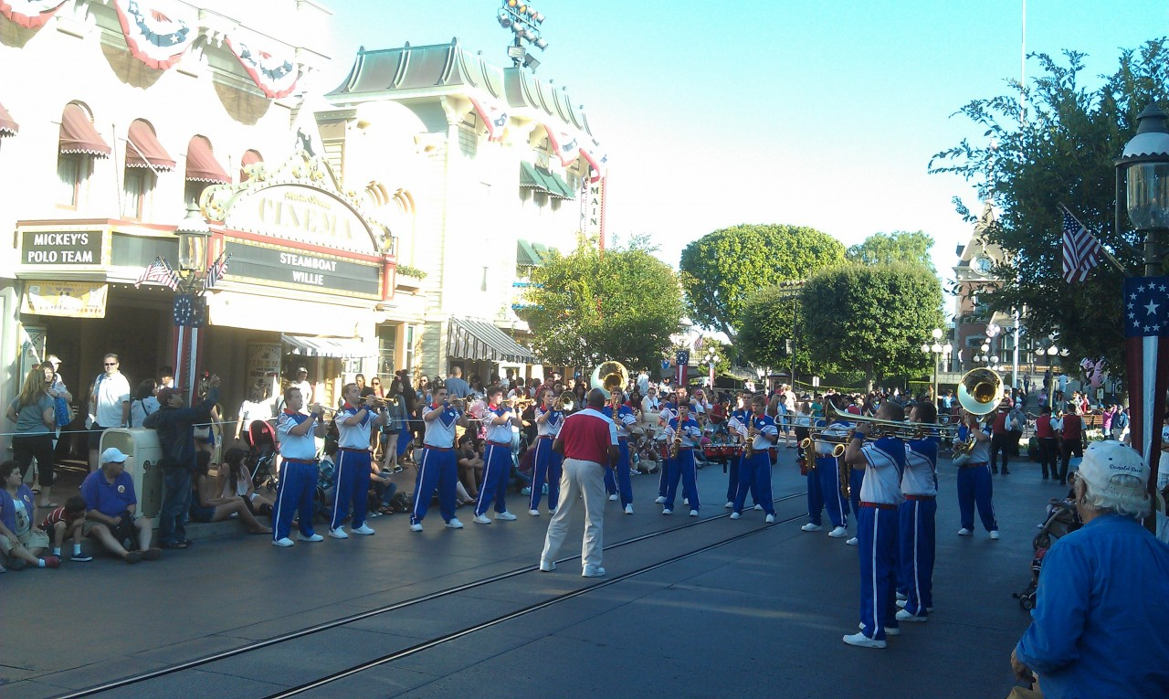 The All American College Band performing on Main Street.