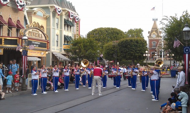 The All American College Band - pre parade set is underway.