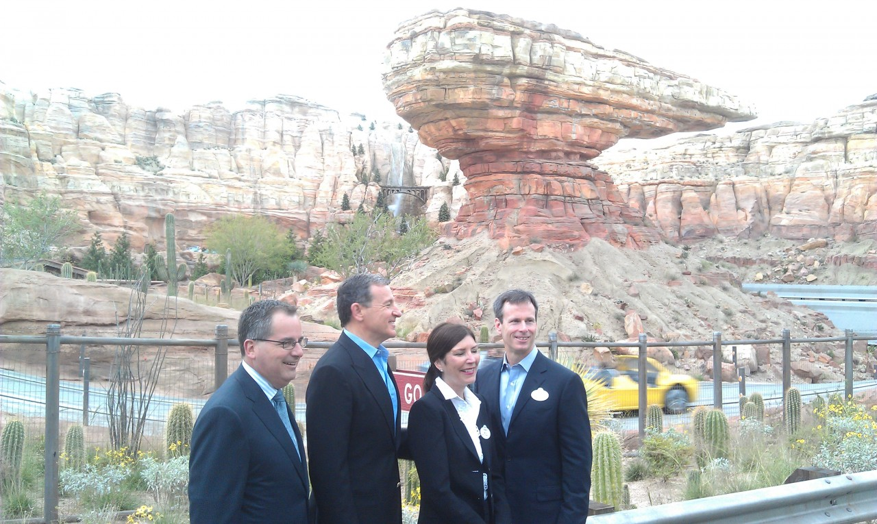 The Bob Iger, Tom Staggs, Meg Crofton, and George  Kalogridis stopped to take in the view of the Racers