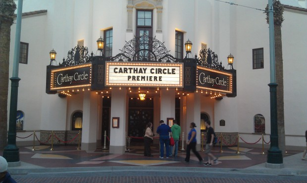 The Carthay Circle Marquee is all lit up this